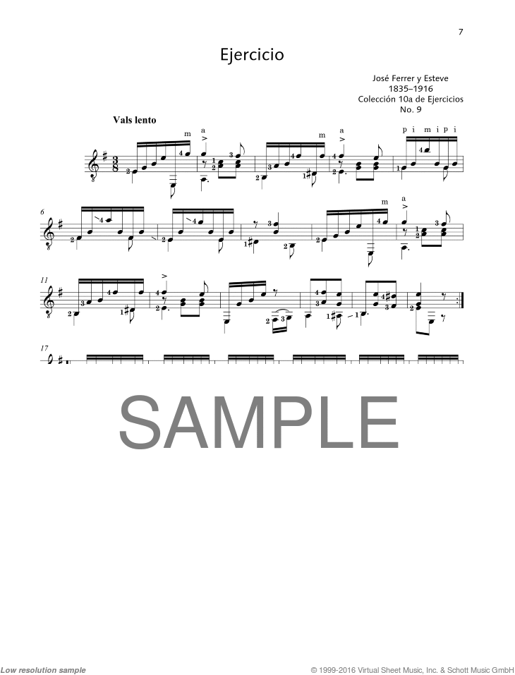 Ejercicio sheet music for guitar solo by Jose Ferrer, classical score, easy/intermediate skill level
