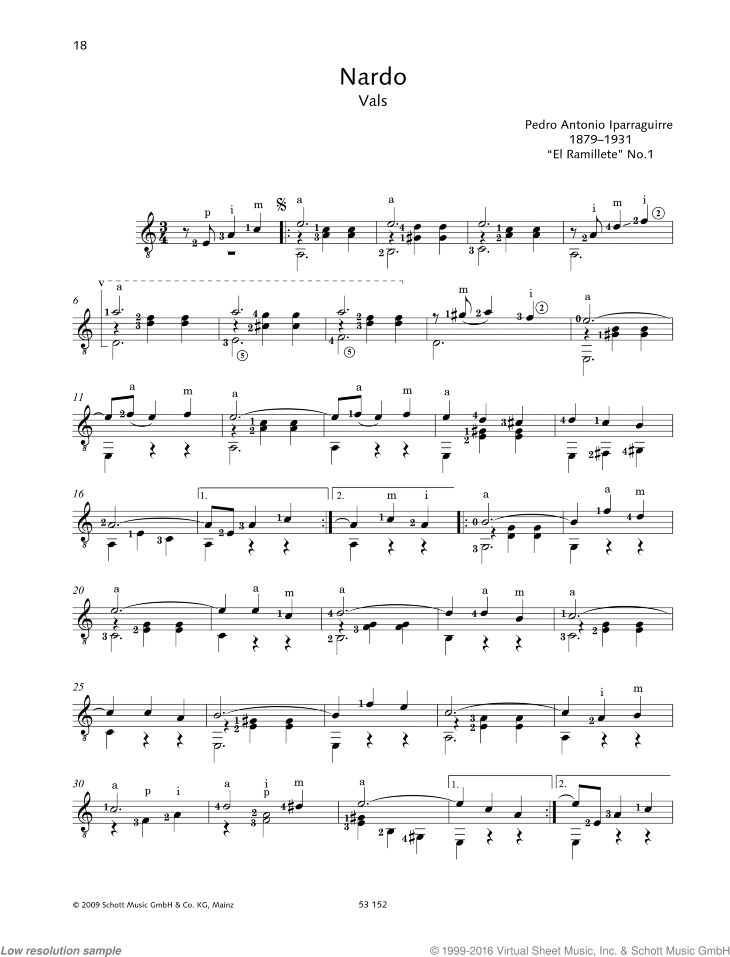 Nardo sheet music for guitar solo by Pedro Antonio Iparraguirre, classical score, easy/intermediate skill level