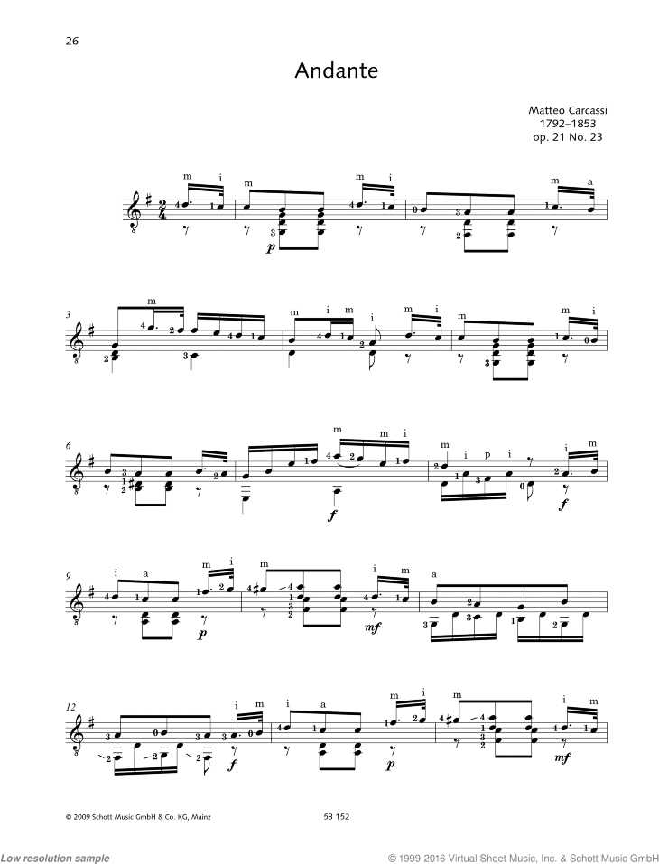 Andante sheet music for guitar solo by Matteo Carcassi, classical score, easy/intermediate skill level