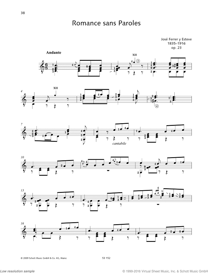 Romance sans Paroles sheet music for guitar solo by Jose Ferrer, classical score, easy/intermediate skill level