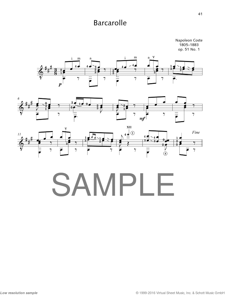Barcarolle sheet music for guitar solo by Napoleon Coste, classical score, easy/intermediate skill level