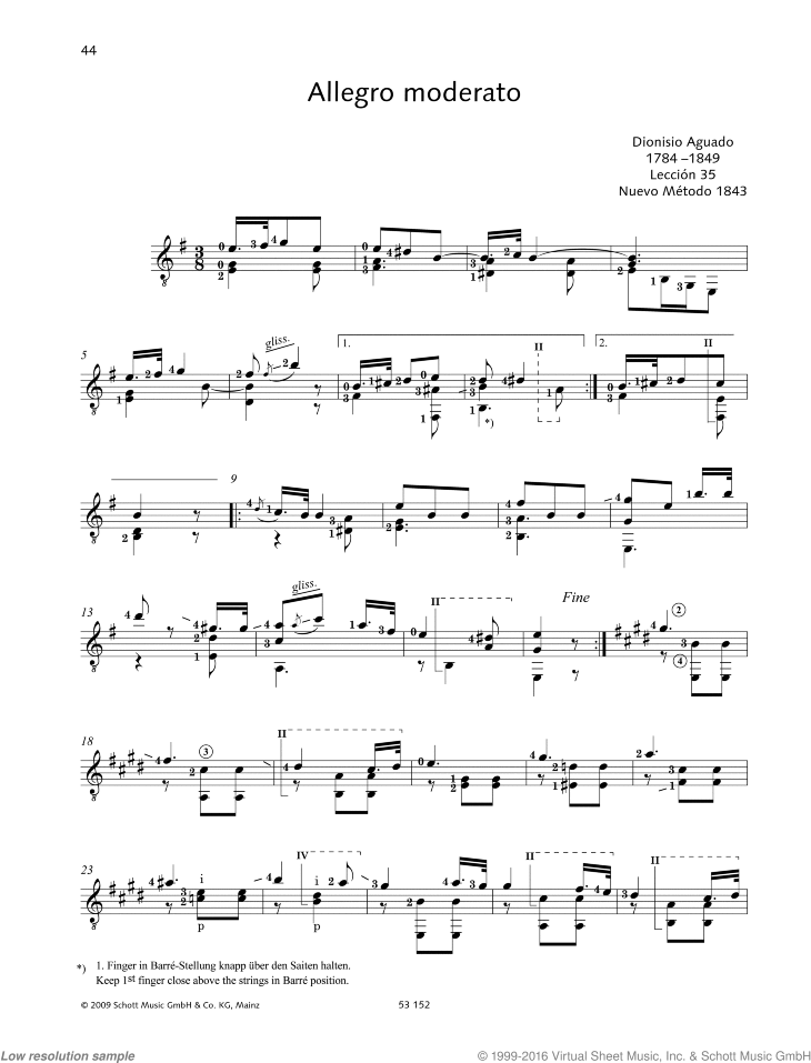 Allegro moderato sheet music for guitar solo by Garcia Dionisio Aguado, classical score, easy/intermediate skill level
