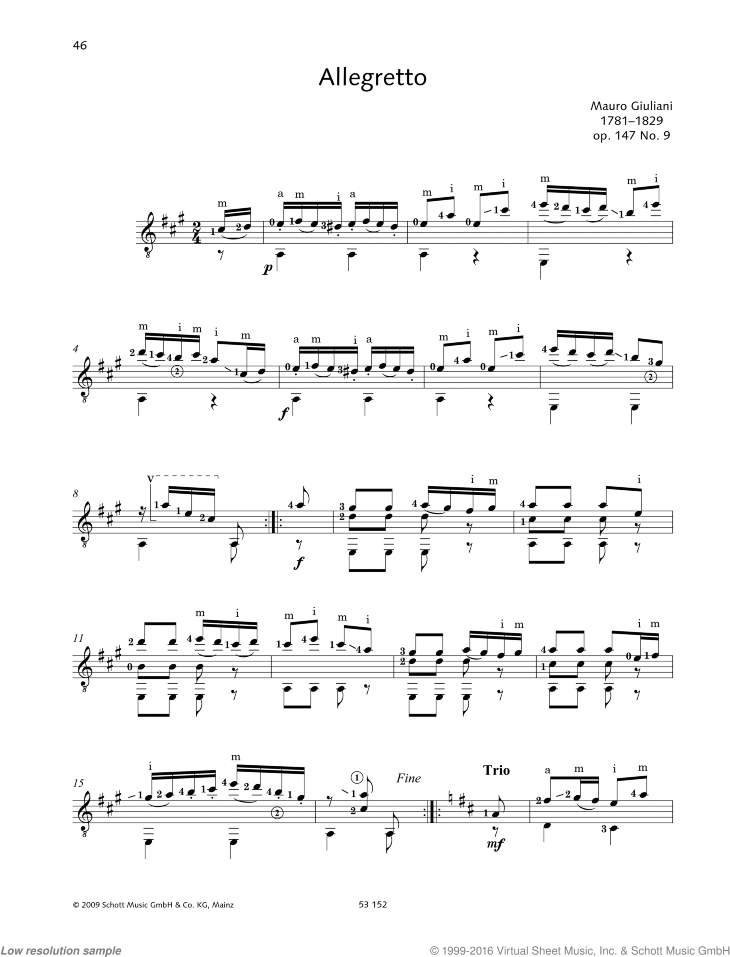Allegretto sheet music for guitar solo by Mauro Giuliani, classical score, easy/intermediate skill level