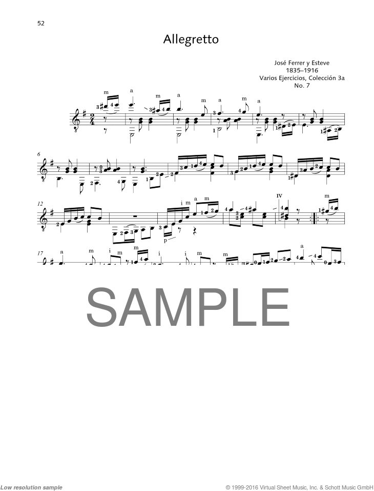 Allegretto sheet music for guitar solo by Jose Ferrer, classical score, easy/intermediate skill level