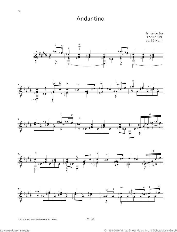 Andantino sheet music for guitar solo by Fernando Sor, classical score, easy/intermediate skill level