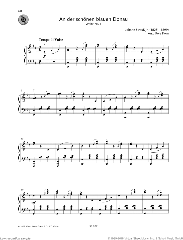 The Blue Danube sheet music for piano solo by Johann Strauss, easy/intermediate skill level