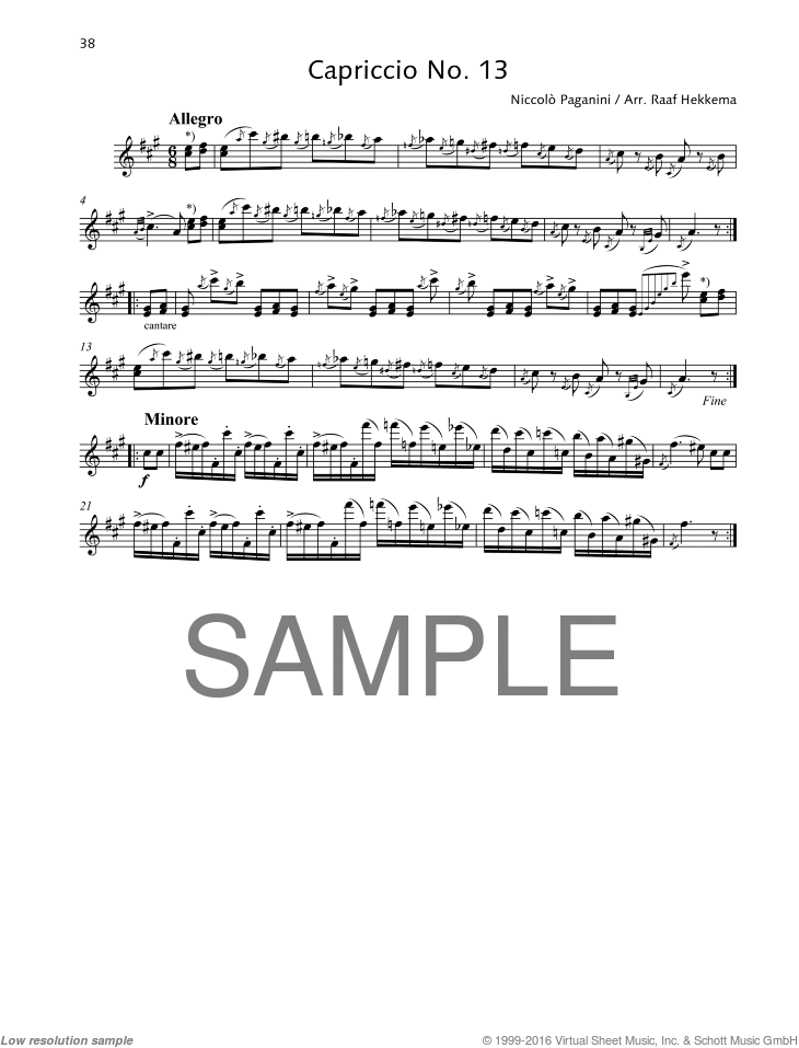 Capriccio No. 13 sheet music for alto saxophone solo by Nicolo Paganini, classical score, advanced skill level