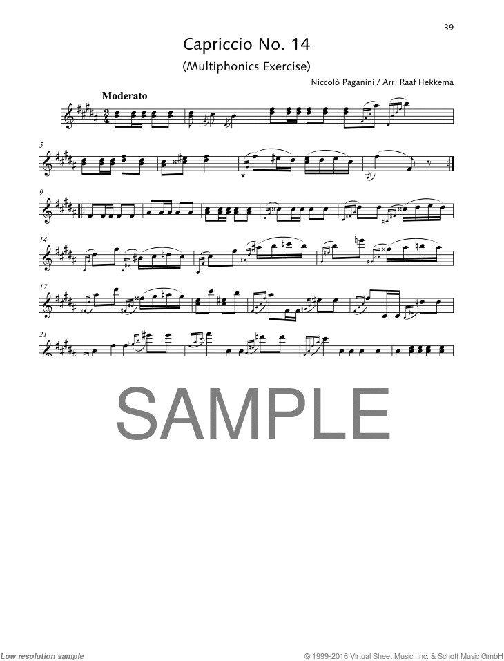 Capriccio No. 14 sheet music for soprano saxophone solo by Nicolo Paganini, classical score, advanced skill level