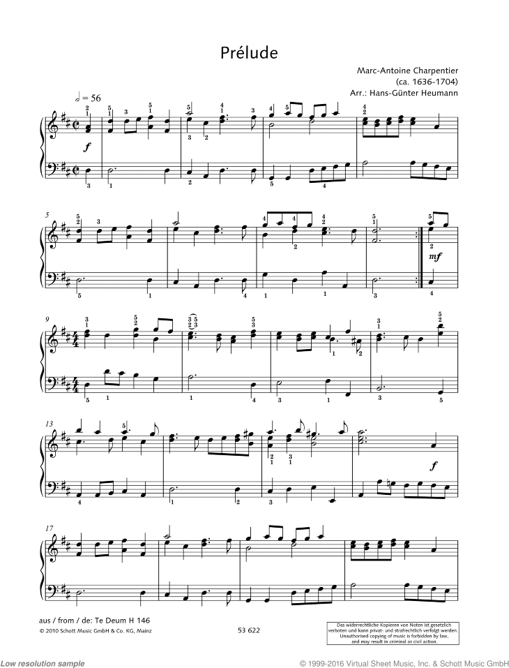 Prelude sheet music for piano solo by Marc-Antoine Charpentier, classical score, easy/intermediate skill level