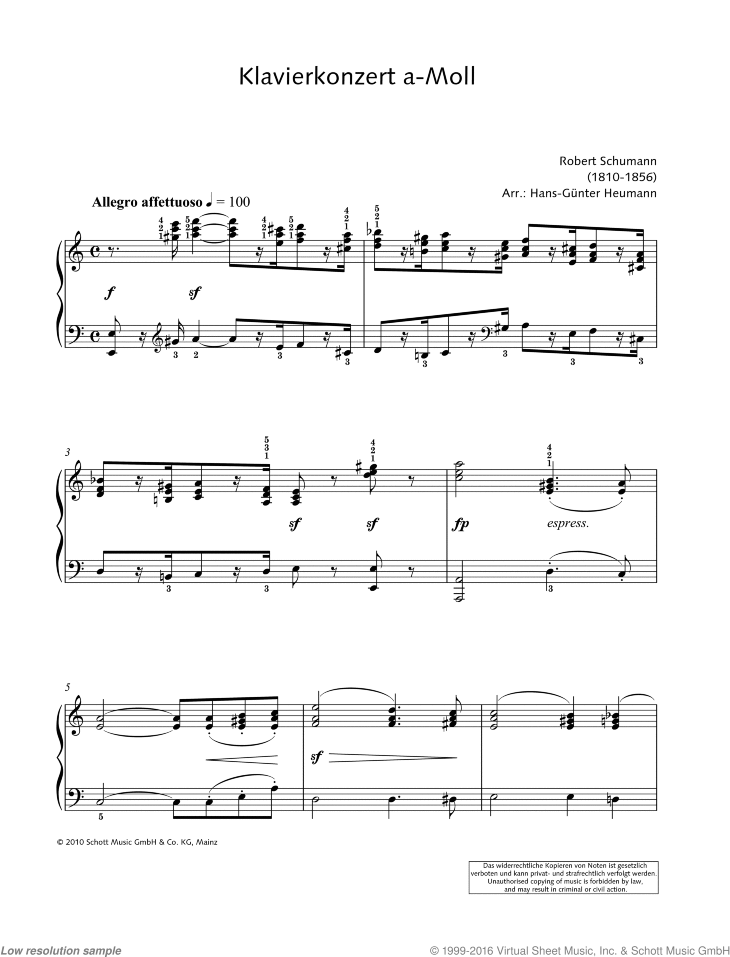 Concerto for Piano and Orchestra in A minor sheet music for piano solo by Robert Schumann, classical score, easy/intermediate skill level