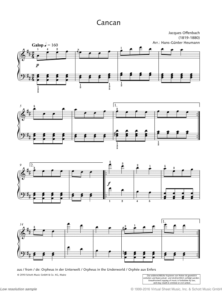 Cancan sheet music for piano solo by Jacques Offenbach, classical score, easy/intermediate skill level