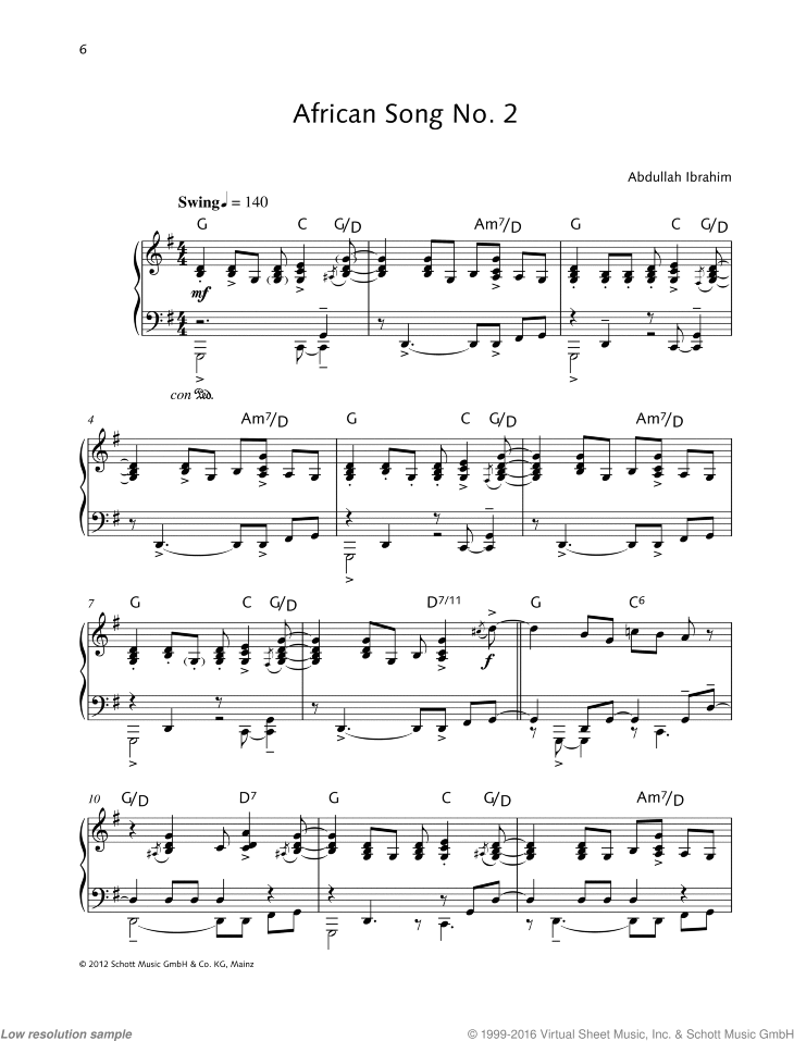 African Song No. 2 sheet music for piano solo by Abdullah Ibrahim, easy/intermediate skill level
