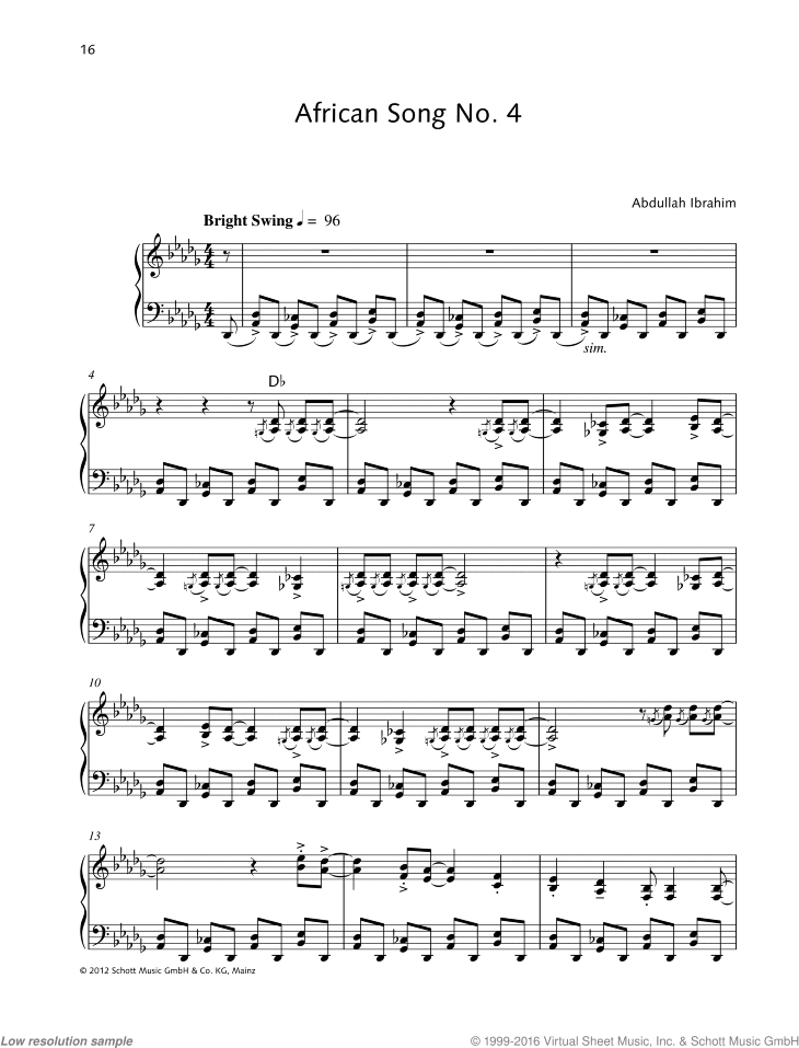 African Song No. 4 sheet music for piano solo by Abdullah Ibrahim, easy/intermediate skill level