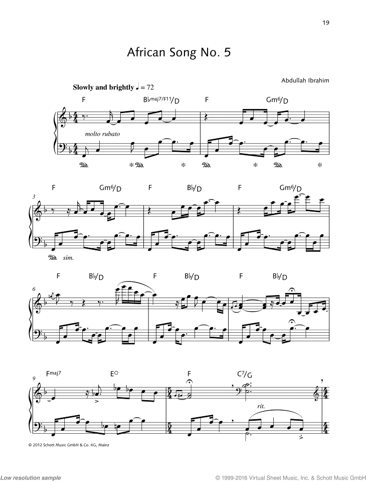 African Song No. 5 sheet music for piano solo by Abdullah Ibrahim, easy/intermediate skill level