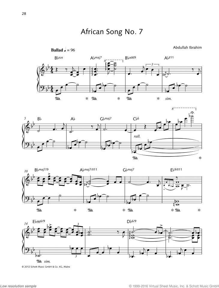 African Song No. 7 sheet music for piano solo by Abdullah Ibrahim, easy/intermediate skill level