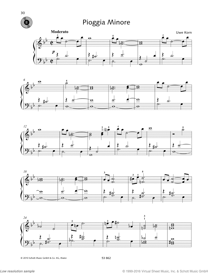 Pioggia Minore sheet music for piano solo by Uwe Korn, easy/intermediate skill level