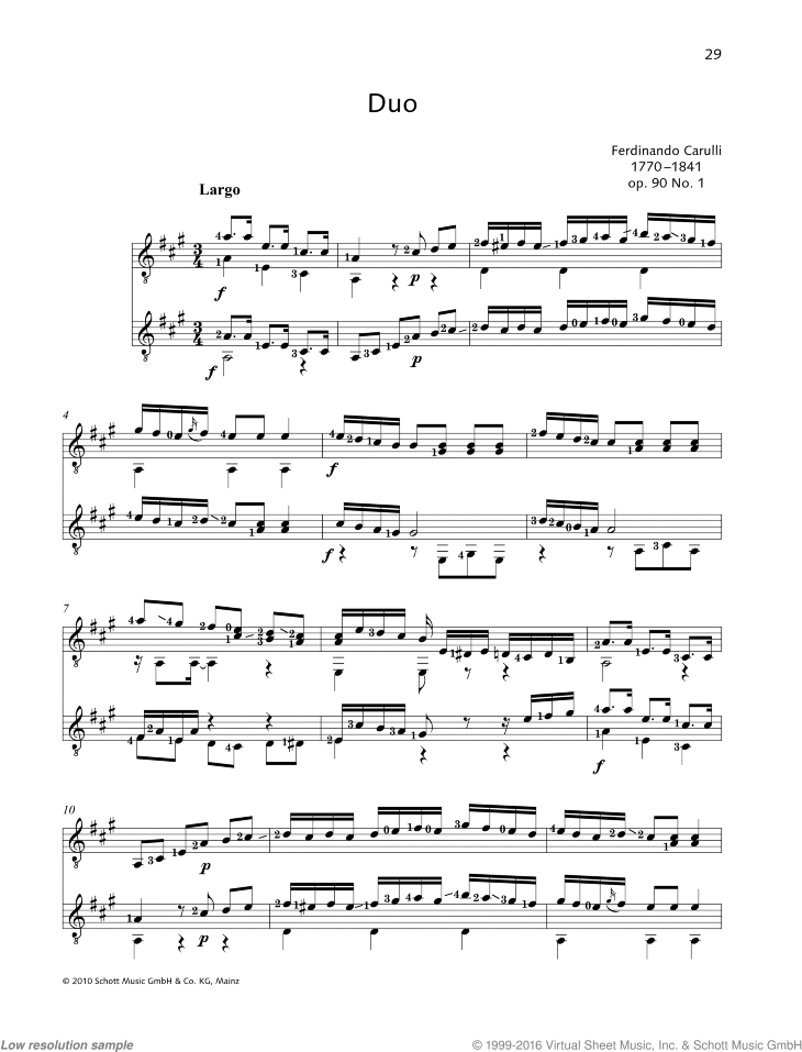 Duo sheet music for two guitars by Ferdinando Carulli, classical score, easy duet
