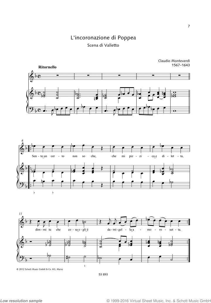Sento un certo non so che sheet music for soprano and piano by Claudio Monteverdi, classical score, easy/intermediate skill level