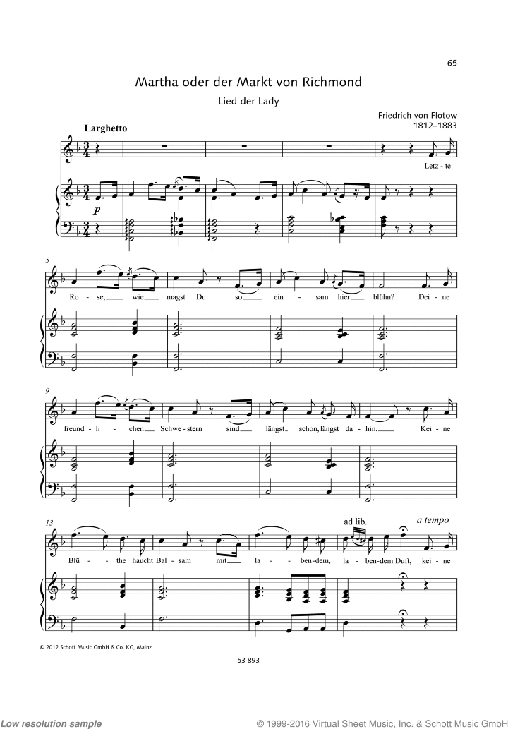 Letzte Rose sheet music for soprano and piano by Friedrich von Flotow, classical score, easy/intermediate skill level
