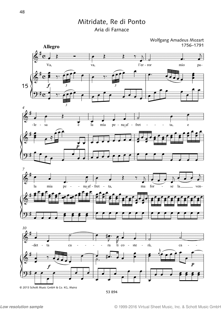 Va sheet music for mezzo-soprano or alto and piano by Wolfgang Amadeus Mozart, classical score, easy/intermediate skill level