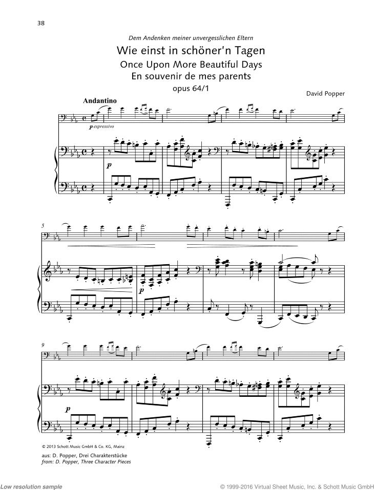 Once Upon More Beautiful Days sheet music for cello and piano by David Popper, classical score, advanced skill level