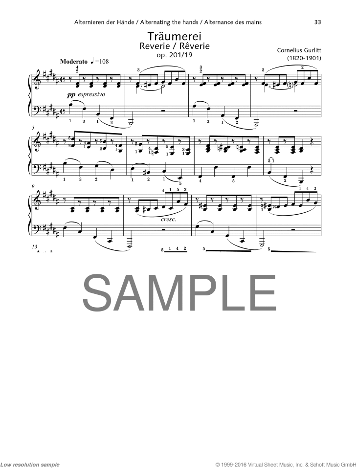 Reverie sheet music for piano solo by Cornelius Gurlitt, classical score, easy/intermediate skill level