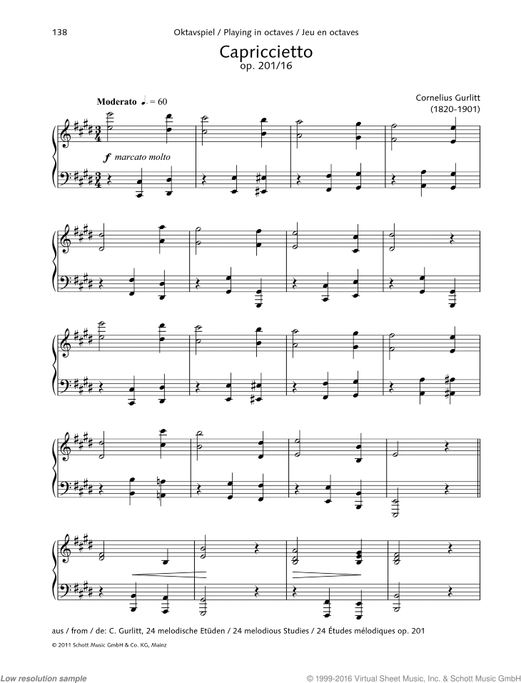 Capriccietto sheet music for piano solo by Cornelius Gurlitt, classical score, easy/intermediate skill level