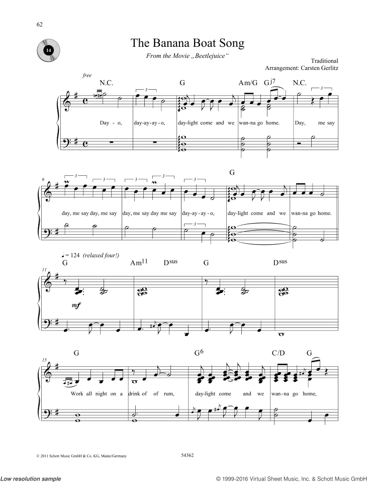 The Banana Boat Song sheet music for piano solo by Traditional, easy/intermediate skill level