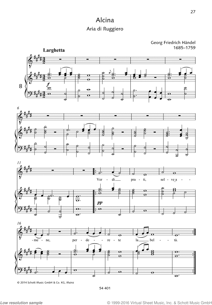 Verdi prati sheet music for tenor and piano by George Frideric Handel, classical score, easy/intermediate skill level