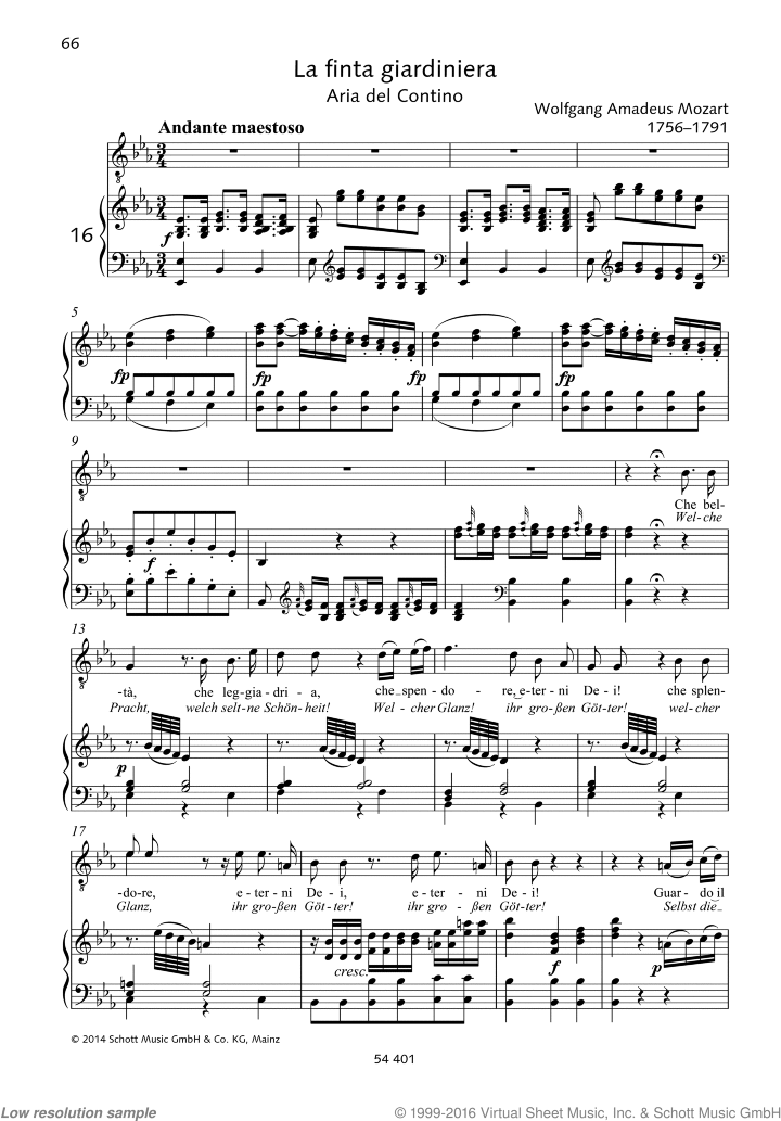 Che belta sheet music for tenor and piano by Wolfgang Amadeus Mozart, classical score, easy/intermediate skill level