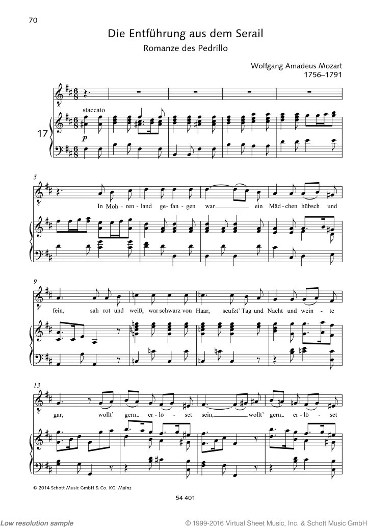 In Mohrenland gefangen sheet music for tenor and piano by Wolfgang Amadeus Mozart, classical score, easy/intermediate skill level