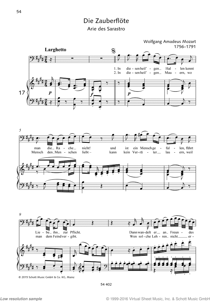 In diesen heil'gen Hallen sheet music for baritone or bass and piano by Wolfgang Amadeus Mozart, classical score, easy/intermediate skill level