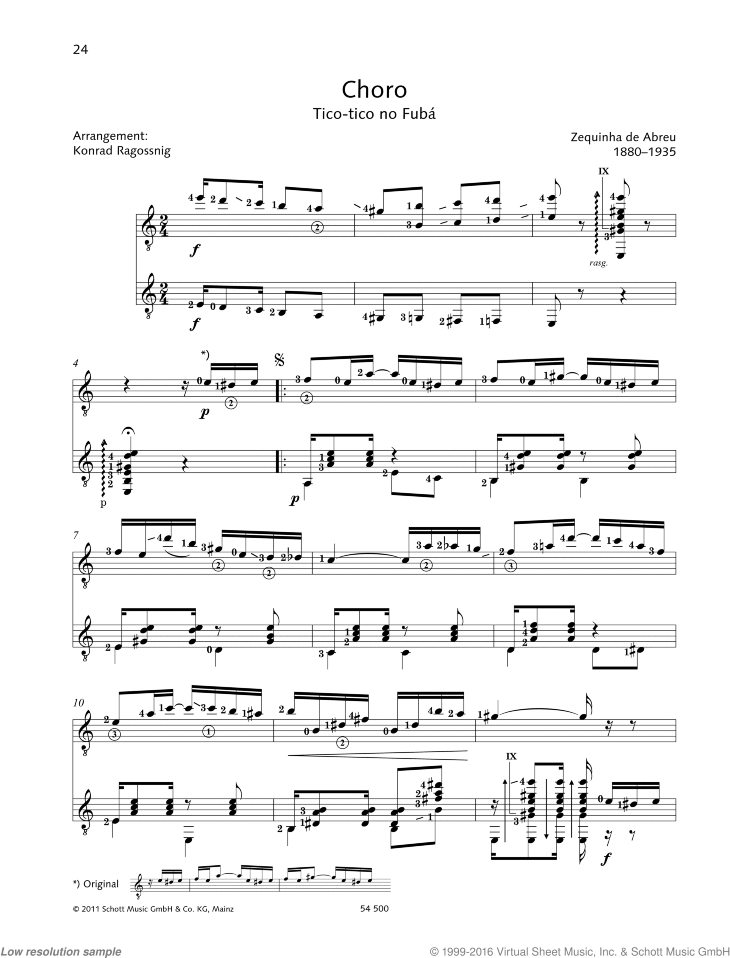 Choro sheet music for two guitars by Zequinha de Abreu, classical score, easy/intermediate duet
