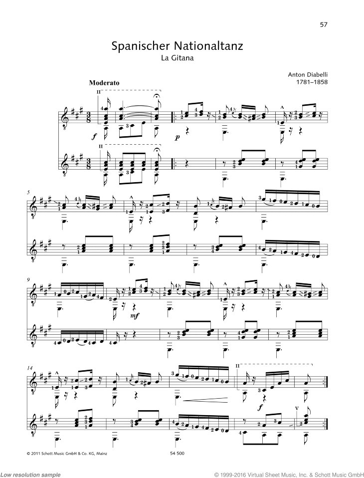 Spanischer Nationaltanz sheet music for two guitars by Antonio Diabelli, classical score, easy/intermediate duet
