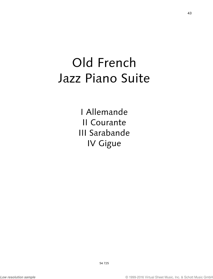 Old French Jazz Piano Suite sheet music for piano solo by Uwe Korn, easy/intermediate skill level