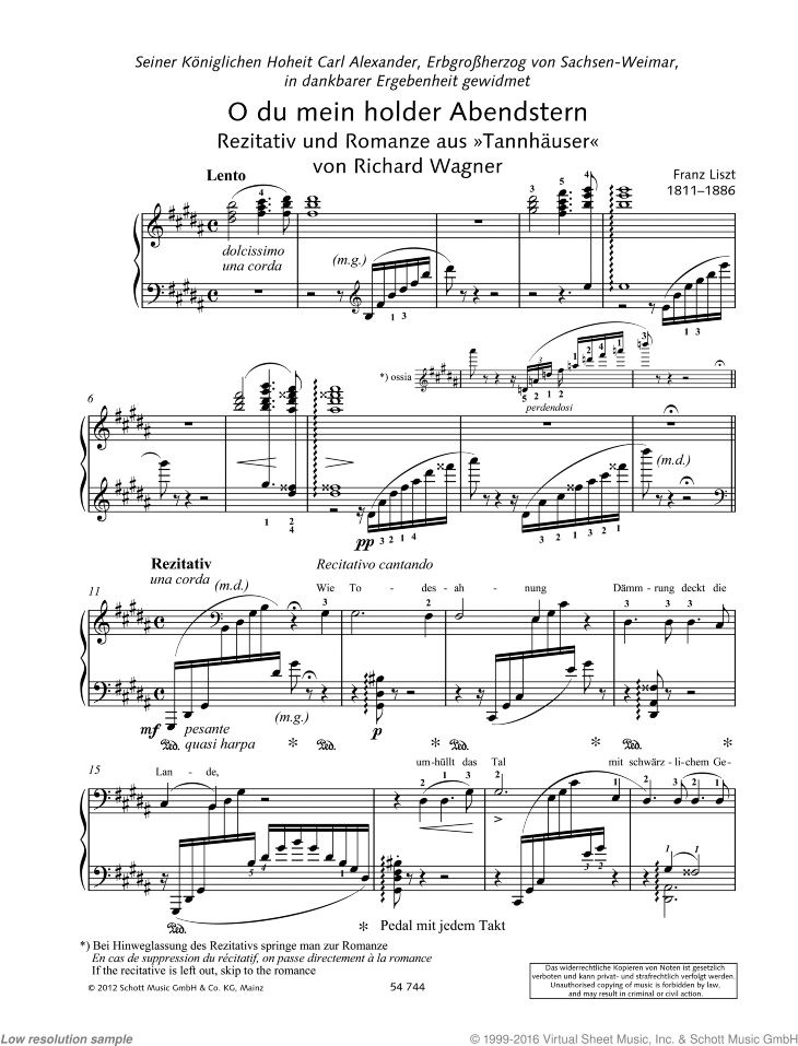 O thou beloved evening star sheet music for piano solo by Richard Wagner, classical score, advanced skill level