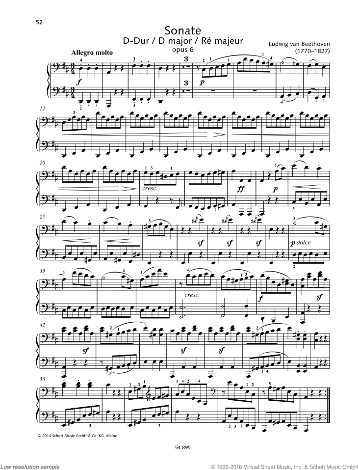 Sonata in D major sheet music for piano four hands by Ludwig van Beethoven, classical score, easy/intermediate skill level