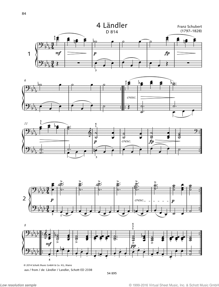 4 Landler sheet music for piano four hands by Franz Schubert, classical score, easy/intermediate skill level