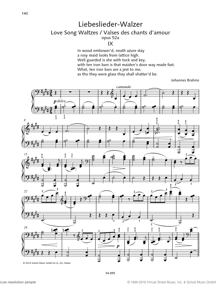 Love Song Waltzes sheet music for piano four hands by Johannes Brahms, classical score, easy/intermediate skill level