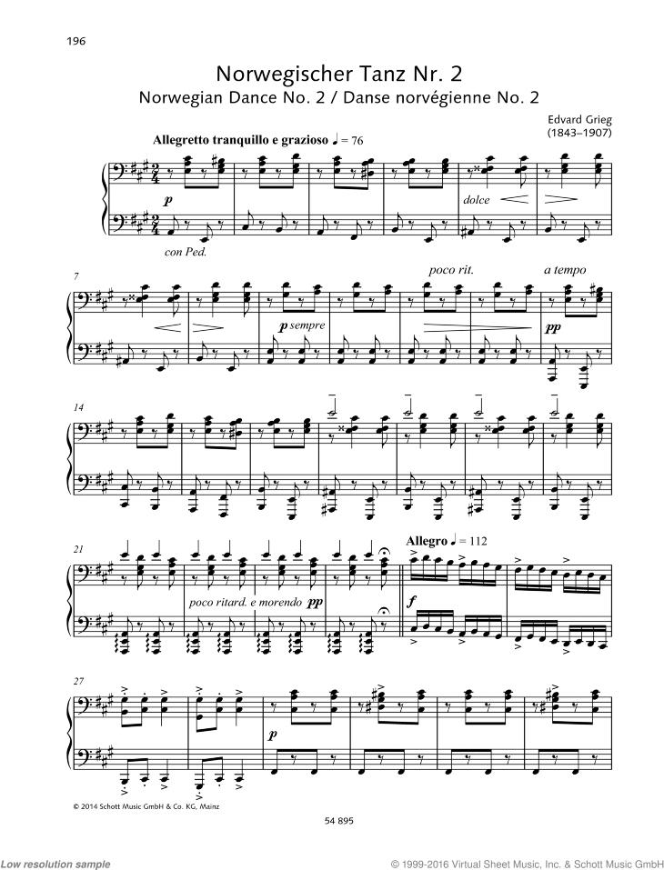 Norwegian Dance No. 2 sheet music for piano four hands by Edvard Grieg, classical score, easy/intermediate skill level
