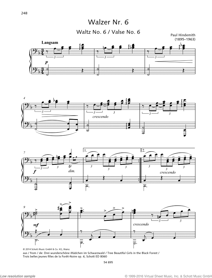 Waltz No. 6 sheet music for piano four hands by Paul Hindemith, classical score, easy/intermediate skill level