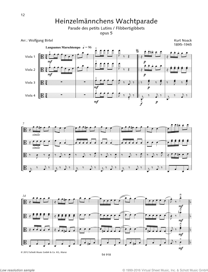 Flibbertigibbets sheet music for four violas by Kurt Noack, classical score, easy/intermediate skill level