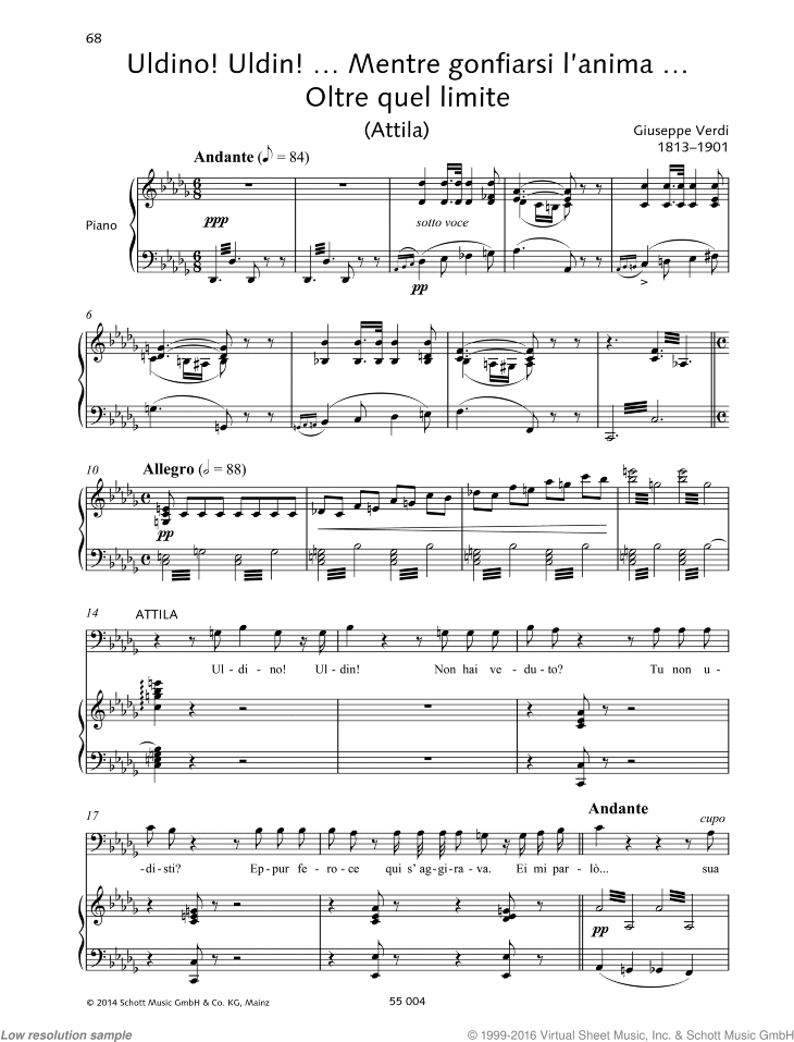 Uldino! Uldin!... Mentre gonfiarsi l'anima... Oltre quel limite sheet music for bass and piano by Giuseppe Verdi, classical score, intermediate/advanced skill level