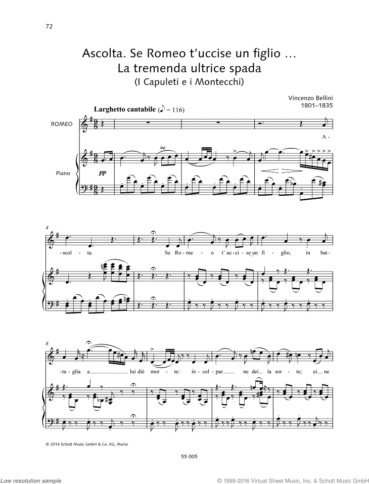 Ascolta. Se Romeo t'uccise un figlio... La tremenda ultrice spada sheet music for mezzosoprano and piano by Vincenzo Bellini, classical score, intermediate/advanced skill level