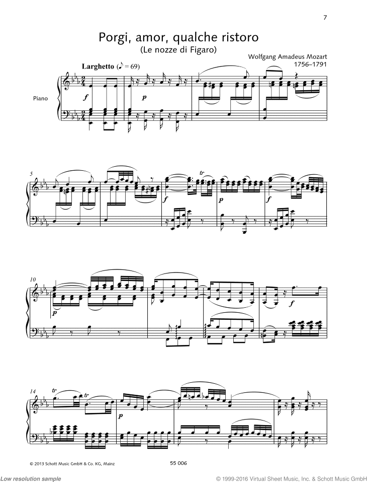 Porgi sheet music for soprano and piano by Wolfgang Amadeus Mozart, classical score, intermediate/advanced skill level