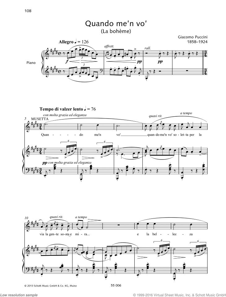 Quando m'en vo' sheet music for soprano and piano by Giacomo Puccini, classical score, intermediate/advanced skill level