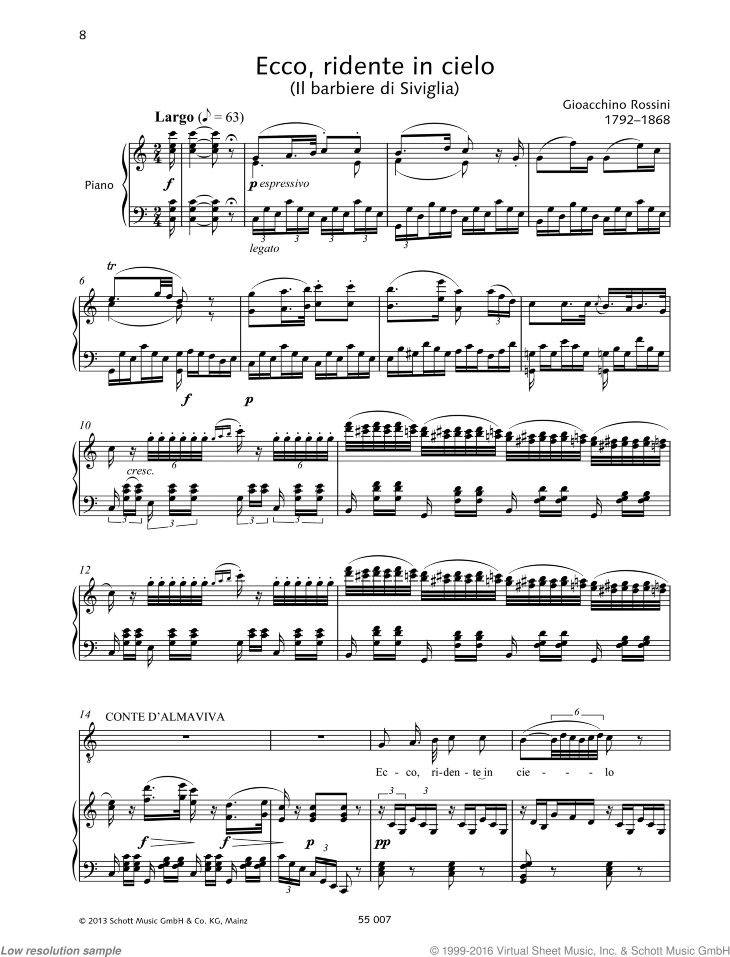 Ecco ridente in cielo sheet music for tenor and piano by Gioacchino Rossini, classical score, intermediate/advanced skill level