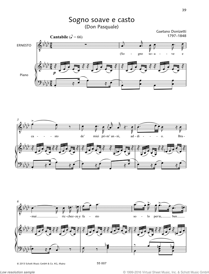 Sogno soave e casto sheet music for tenor and piano by Gaetano Donizetti, classical score, intermediate/advanced skill level