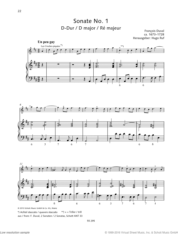 Sonata No. 1 sheet music for violin and piano by Francois Duval, classical score, easy skill level