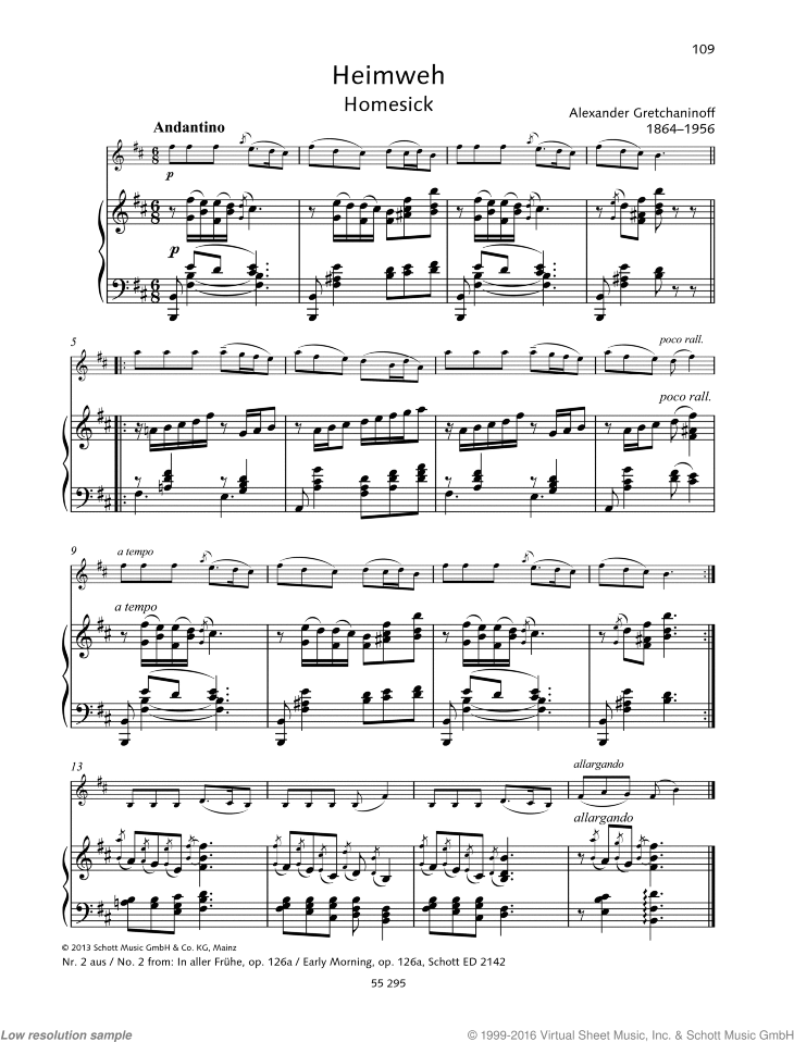Early Morning sheet music for violin and piano by Alexander Gretchaninoff, classical score, easy skill level